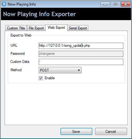 Web Export Tab